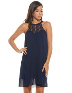 Navy blue Women Casual Sleeveless Lace Patchwork O Neck Pullover Straight Chiffon Dress
