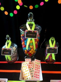 Neon Glow in the Dark Birthday Party candy jars!  See more party planning ideas at CatchMyParty.com!
