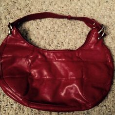 Small cute red purse Red pleather should bag. Not real small but fun for a night out when you just need a few things and an accessory to add pop to your outfit. Bags