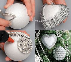 Ideas Christmas Tree Decorations Diy Ornaments Beads For 2019 Ornament Crafts, Christmas Projects, Holiday Crafts, Christmas Holidays, Diy Ornaments, Ball Ornaments, Christmas Ideas, Beaded Christmas Ornaments, Christmas Tree Decorations