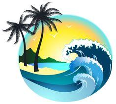 Palm Tree Clip Art, Palm Tree Vector, Surf Design, Web Design, Beach Illustration, Wave Art, Clipart Images, Sea Clipart, Surf Art