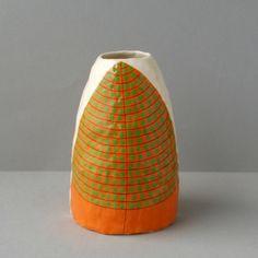 Image of Orange/Green Leaf Vase