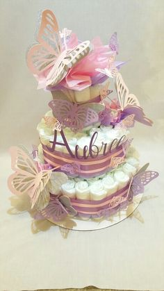 Pink and Purple Butterfly Diaper Cake