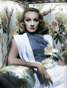 Glamor shot of actress, Marlene Dietrich in 1940's style.