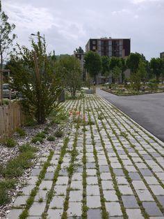 © atelier VILLES & PAYSAGES - Bourgoin-Jallieu quartier de Champ Fleuri - pavés à joints végétalisés infiltrants