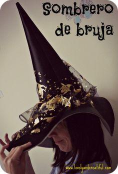 Sombrero de bruja para Halloween. Tutorial para hacer el patrón a medida y  confeccionarlo. 5003af230a0