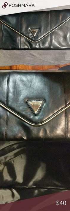 """BLACK GUESS CLUTCH REALLY NICE 15""""L x 7""""HT,   satin lined, never used, beautiful soft supple leather. Guess Bags Clutches & Wristlets"""