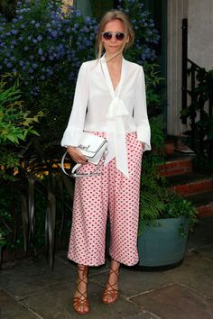 17 May Martha Ward teamed a white pussy-bow blouse with patterned culottes for the Beulah breakfast in London.