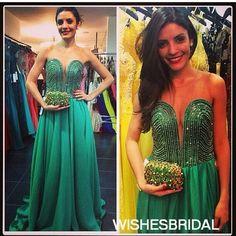 Wishesbridal Sleeveless Illusion Chiffon Sweep Train #Beading Green A Line #Prom Evening Dress Cwb0829