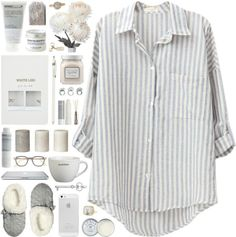 A fashion look from March 2014 featuring long sleeve shirts, white lingerie and fake jewelry. Browse and shop related looks. Lazy Day Outfits, Chill Outfits, Lounge Outfit, Lounge Wear, Printed Blouse, Printed Shirts, Bustiers, Long Sleeve Tops, Long Sleeve Shirts