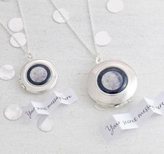 Personalised Moon Phase silver locket. Fill in your special date when you order and we will look up the phase of the moon on that date and send you that moon design on your special keepsake locket.