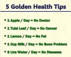 Golden health tips - obviously minus the milk one! (*Tulsi is also known as holy basil; helps to maintain healthy blood sugar levels & healthy cortisol levels. It is known to help deal with stress and to help lose weight. Health And Beauty, Health And Wellness, Health Fitness, Health Care, Fitness Tips, Mental Health, Fitness Gear, Health Facts, Health Quotes