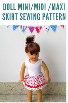 Learn how to sew cute little dolly skirts in mini, midi or maxi length with this easy doll skirt sewing pattern. This is a beginner sewing pattern, which can be done in less than an hour. Baby Clothes Patterns, Skirt Patterns Sewing, Sewing Patterns Free, Doll Patterns, Sewing Tutorials, Sewing Projects, Skirt Sewing, Free Sewing, American Doll Clothes