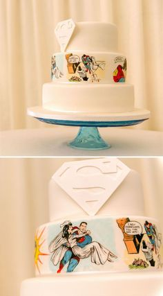 I would so do this but half superman half spiderman for him lol as a side cake tho.....Alice and Rick's Superman themed real wedding made us want an unusual wedding theme so badly. Their unique wedding cake was made by Sweet Serenity