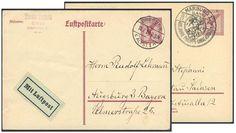 Germany, German Empire, Deutsches Reich 1926/27, Luftpostkarten, 15 Pfg. lila, beide Typen, gelaufen (Mi.-Nr.P 168. 169/Mi.EUR 94,--). Price Estimate (8/2016): 25 EUR. Unsold.