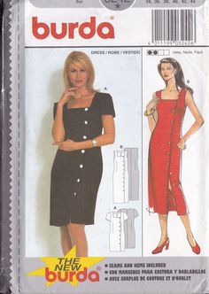 Sewing Pattern Burda 3242 Side Button Sexy Dress  Square Neck Asymmetrical Small to plus size  New Size 8 10 12 14 16 18 8/18 FF UNCUT by LanetzLiving on Etsy Burda Sewing Patterns, Simplicity Sewing Patterns, Couture, Star Patterns, Easy, Free Pattern, How To Look Better, Dresses With Sleeves, Plus Size