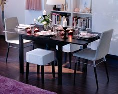 BJURSTA dining table extended to fit extra guests $149 practical for a small apartment