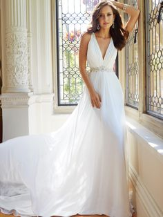 Sophia Tolli - Sleeveless chiffon wedding dress with chapel train, add glamour to your wedding day with Joanne, a sleeveless slim A-line gown in ethereal chiffon. Final Sale