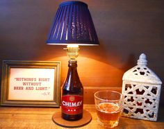 Pere Trappistes Chimay Beer Bottle Lamp Light by BrewLamps on Etsy, $45.00 Chimay Beer, Beer Bottle Lights, Lamp Light, Ale, Gift Ideas, Unique Jewelry, Handmade Gifts, Etsy, Bottles