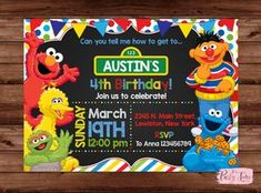 Sesame Street Invitation Sesame Street Birthday Invitation