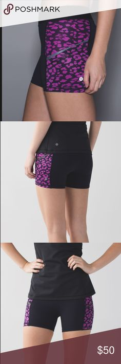 Lululemon What The Sport Short Lululemon What The Sport Short Naval Blue / Mini Cherry Cheetah Ultra Violet Naval Blue super cute pattern in size 4. excellent used condition *NO TRADES* Why we made this We're constantly on the move, so we designed these shorts to be ready for anything. Plenty of pockets, four-way stretch fabric and an inseam designed not to ride up mid-stride? Yup, these shorts have it all. lululemon athletica Shorts