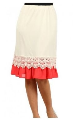 two-tone skirt extender slip in coral. Now you can wear your favorite dress or skirt that is just a tad too short!