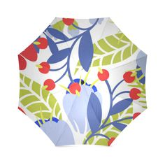 Colorful Red Blue Modern Floral Pattern Foldable Umbrella