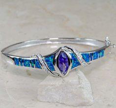 Ring to Wrist Bracelet amathist | Amethyst Australian Opal 925 Solid Sterling Silver Bangle Bracelet ...