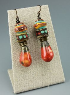 Rustic Boho Earrings, Boho Earrings, Hippie Earrings, Rustic Hippie Earrings, Tribal Earrings, Primitive Earrings, Orange Earrings, #628-114 by ChrisKaitlynJewelry on Etsy