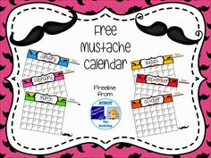 Classroom Freebies: Free Mustache Themed Calendar