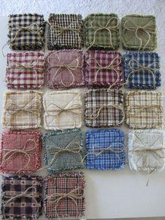 Homespun rag quilt coasters set of 4- 18 color choices. $5.00, via Etsy.