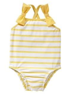 Gap Striped Bow One-Piece: Gap's yellow-striped tank suit ($20) features two cute bows at the straps. Available for babes 0 to 24 months old.