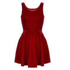 GenuinePeople Red Velvet Skater Dress ($20) ❤ liked on Polyvore featuring dresses, vestidos, black, women's clothing, red day dress, black dress, kohl dresses, velvet dress and red dress