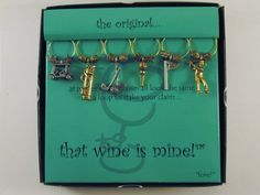 """NEW That Wine is Mine! Glass Charms Set of 6 Heavy-Weight """"fore!"""" Golf Theme #thatwineismine"""