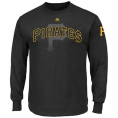 Majestic Pittsburgh Pirates Black Pressing Issues Long Sleeve T-Shirt
