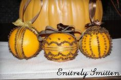 Fall pomanders -  Or use them in the summer becasuse cloves repells flies and oranges repells mosquitoes