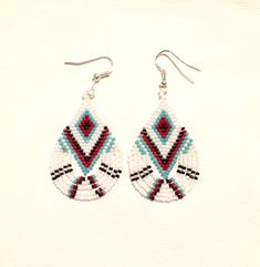 Native American Style Teardrop Fringe Earrings - Turquoise, Red, Black, White