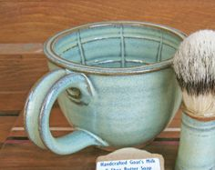 Large Wet Shaving Lather Bowl Mug Green EACH ONE by TheMudPlace, $28.00