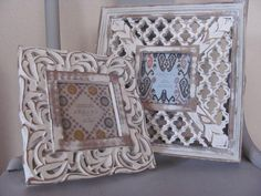 Pair ofWhite Chic Picture Frames Gallery Collection Shabby