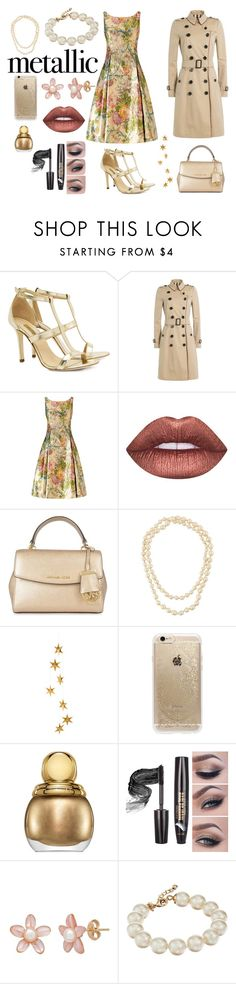"""Metallic"" by sneha-elvis ❤ liked on Polyvore featuring Dee Keller, Burberry, Adrianna Papell, Lime Crime, MICHAEL Michael Kors, Chanel, Livingly, Rifle Paper Co, Christian Dior and Kate Spade"
