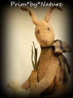 Primitive Standing Easter Bunny Rabbit with Carrot and Spring Chick