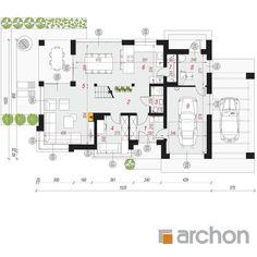 Dom w bursztynkach Modern House Plans, House Floor Plans, House Plans One Story, Planer, Architecture Design, Pergola, Sweet Home, Villa, Exterior