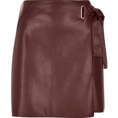 River Island Dark red buckle wrap mini skirt (€33) ❤ liked on Polyvore featuring skirts, mini skirts, leather, red, vegan leather skirt, short red skirt, mini skirt, fitted mini skirt and short mini skirts