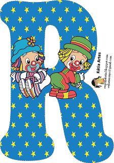 EUGENIA - KATIA ARTES - BLOG DE LETRAS PERSONALIZADAS E ALGUMAS COISINHAS: Junho 2013 Cute Letters, Letters And Numbers, Alphabet Letters, Circus Theme, Circus Party, Clown Party, Send In The Clowns, Balloon Decorations Party, Printable Banner