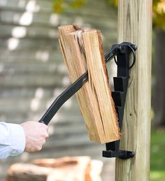 Stikkan Cast Iron Wall-Mounted Kindling Wood Splitter for woodshed or by fireplace or stove. Available in the US only at Plow & Hearth Kindling Splitter, Log Splitter, Stove Accessories, Firewood Storage, Rocket Stoves, Into The Woods, Iron Wall, Wood Projects, Cool Stuff