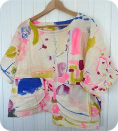Women's beautiful, boxy, boatneck shirt, double gauze Nani Iro fabric, Custom