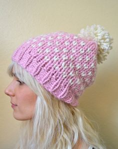Hand Knit Beanie with Pom Pom  Pale Pink with by OpalAndPurlKnits, $46.00