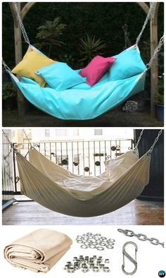 DIY Hammock Projects Picture Instructions <br> 10 DIY Hammock Projects Picture Instructions with hammock stand, too. Easy Sew or Macrame Hammock Projects for Indoor and Outdoor Relax. Hammock In Bedroom, Diy Hammock, Hanging Hammock, Indoor Hammock, Hammock Swing, Hammock Chair, Swinging Chair, Diy Hanging, Diy Chair