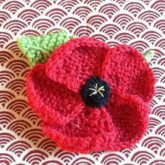 November Poppies knitting project by Hazel H Knitted Poppy Free Pattern, Knitted Flower Pattern, Knitted Poppies, Knitted Flowers, Knitting Patterns Free, Free Knitting, Crochet Patterns, Chevron Patterns, Knitting Machine