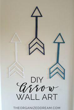 Diy arrow wall art - easy home decor craft Easy Home Decor, Diy Home Crafts, Diy Arts And Crafts, Kids Crafts, Diy Wand, Simple Wall Art, Diy Wall Art, Kids Wall Decor, Diy Room Decor